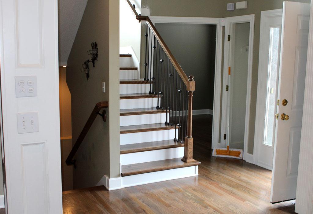 hardwood floor refinishing kansas city hallway and staircase
